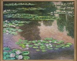 Luxury Line Water Lilies Metallic Embellished. Claude Monet. Tablou pictat