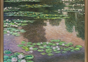 Luxury Line Water Lilies Metallic Embellished. Claude Monet. Tablou pictat