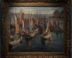 MIDY Arthur 1931 Barci în Concarneau, Tablou cu peisaj marin cu vapoare tablou nautic, tablou cu malul marii