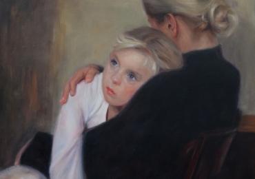Mama si fica, portrete la comanda, picturi dupa poze, Tablouri pictate manual, Portret mama si copil