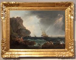 Marina in storm and shipwreck, Francesco Fidanza, tablou peisajmarin cu furtuna, Reproduceri pictori celebri