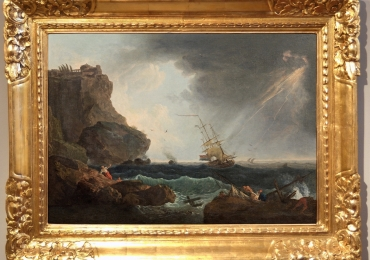 Marina in storm and shipwreck, Francesco Fidanza, tablou peisajmarin cu furtuna, Reproduceri pictori celebri