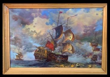 Maritime Painting, Tablou cu peisaj marin, tablou vapoare in largul marii, tablou cu valurile marii, tablou cu vapoare, tablou cu cer inorat