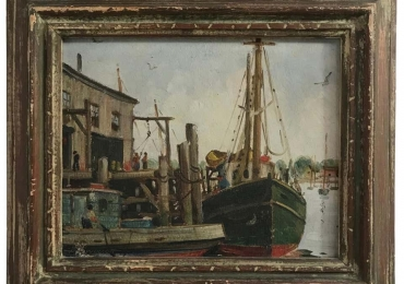 Massachusetts Harbor Fishing Boats Painting by H. C. Wolcott, 20th Century, Tablou cu peisaj marin cu vapoare,  tablou nautic, tablou cu malul marii