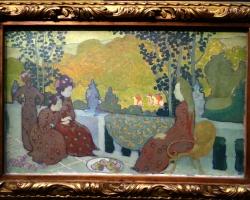 Maurice Denis, Soir de septembre, dit aussi, femmes assises a la terrasse, 1891, tablou peisaj de vara cu femei in gradina, Tablouri Celebre