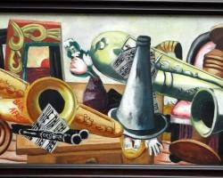 Maurice Quentin de La Tour Still life with saxophones, Natura moarta cu instrumente muzicale, tablou cu saxofon, tablou cu trompeta