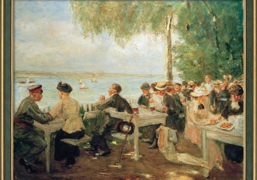 Max Liebermann, Beer Garden in Havel 1916Tablou cu peisaj de vara, tablou cu rau llanga parc, peisaj din natura, tablou cu oameni in parc