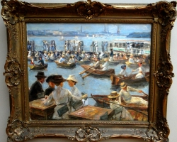 Max Liebermann On the Alster in Hamburgtablou peisaj de vara culac si barci, Tablouri Reproduceri Picturi Celebre