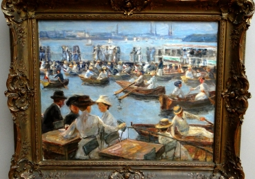 Max Liebermann On the Alster in Hamburgtablou peisaj de vara culac si barci, Tablouri Reproduceri Picturi Celebre