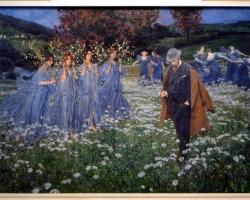 Maximilian Lenz A World, tablou peisaj de vara cu  flori si femei, Tablouri Pictori Celebri, Reproduceri Picturi Celebre