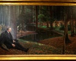Maximilian Lenz, Le peintre Friedrich König et Ida Kupelwieser dans une forêt, c1910, Tablou cu peisaj de vara, tablou cu parc, tablou cu oameni, peisaj din natura