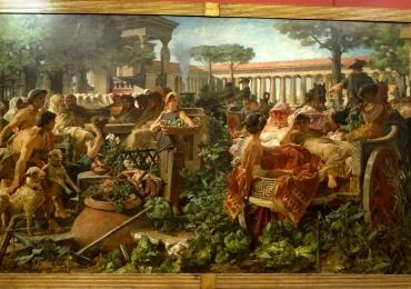 Michele Tedesco A Pythagorean School invaded by the Sybarites, Tablou cu aglomeratii de oameni, tablou celebru, tablou scena Romana