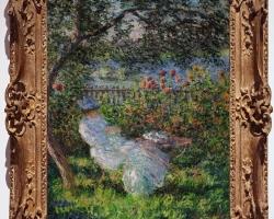 Monet Alice Hoschede in giardino, Tablou cu peisaj de vara, tablou cu parc, tablou cu flori, peisaj din natura, tablou cu femeie in peisaj de vara