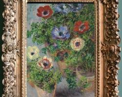 Monet Anemoni in vaso, Vas cu fiori de gradina, tablou cu anemone, tablou cu flori de toamna, tablou floral