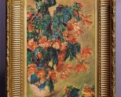 Monet Azalées rouges en pot, Vas cu azalee, tablou cu flori in vaza, tablou cu flori de toamna, tablou floral