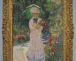 Monet Camille con l'ombrello verde tablou peisaj de vara, tablou cu femeie in gradina cu umbrela de soare si palarie, Reproduceri pictori celebri