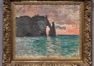 Monet Etretat, tramonto, tablou peisaj de vara, Reproduceri pictori celebri