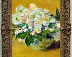 Monet Fiori bianchi di natale, Vas cu fiori de gradina, tablou cu flori albe, tablou cu flori de toamna, tablou floral