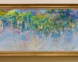 Monet Glicine, Vas cu fiori de gradina, tablou cu flori mov, tablou cu flori de primavara, tablou floral, tablou cu ghirlanda mov