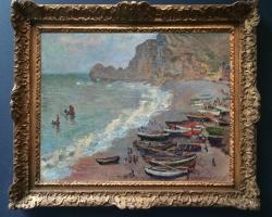 Monet La spiaggia ad Etretat,  tablou peisaj de vara cu barci, tablou peisaj cu faleza marii, peisaj marin, Reproduceri pictori celebri