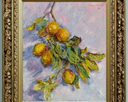 Monet Lemons on a branch, Vas cu ramura de lamaii, tablou cu lamai galbene, tablou cu lamai in ramura