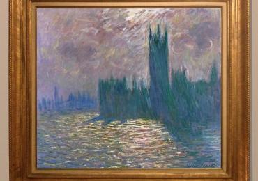 Monet Londra il Parlamento,riflessi sul Tamig, tablou peisaj cu apus de soare, Reproduceri pictori celebri
