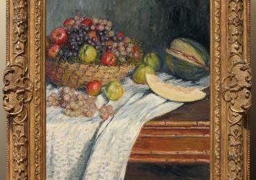 Monet Natura morta con melone di Spagna, Vas impletit cu fructe de gradina, tablou cu fructe de toamna