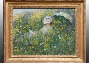 Monet, Nel prato, tablou peisaj de vara, Tablou cu femeie intr-un camp cu flori, tablou femeie cu umbrela, Reproduceri pictori celebri
