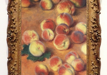 Monet, Pesche, tablou celebru cu fructe de toamna, tablou cu piersici coapte, tablou natura statica