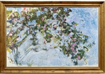 Monet Ramo di rose, Ramuri de trandafiri, yablou cu fiori de gradina, tablou cu flori roz, tablou cu flori de toamna, tablou floral