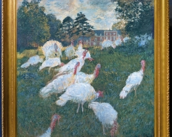 Monet Tacchini, Tablou cu peisaj de vara, tablou cu parc, tablou cu pasari albe, peisaj din natura, tablou cu curci in peisaj de vara