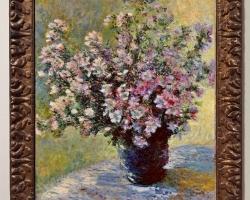 Monet Vaso con fiori di malva, Vas de lut cu fiori, tablou ramuri cu flori roz, tablou cu flori de primavara, tablou floral