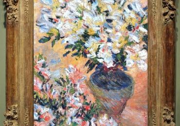 Monet Vaso di azalee bianche, Vas cu fiori de azalee albe, tablou cu flori albe, tablou cu flori de toamna, tablou floral