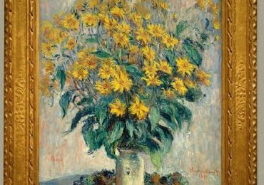 Monet Vaso di crisantemi, Vas cu fiori de gradina, tablou cu flori galbene, tablou cu flori crizanteme, tablou floral