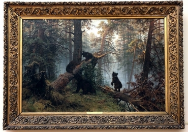 Morning in a Pine Wood. 1889 tablou pictat in ulei pe panza, pictor celebru. T