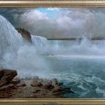 Mountain landscape painting Falls. Tablou pictat manual in ulei pe panza. Pei