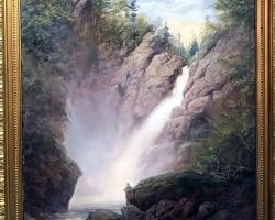 Mountain landscape painting of Glen Ellis Falls. Tablou pictat manual in ulei