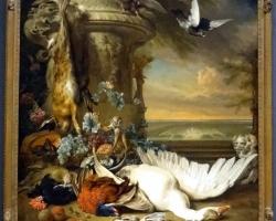 Natura moarta cu pasari, tablou cu flori, pictura cu animale domestice, Tablouri cu lebada iepure