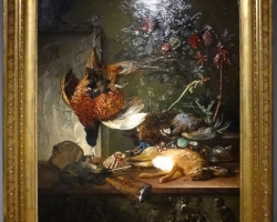 Natura moarta cu pasari, tablou cu flori, pictura cu pasari salbatice, tablou cu fazan, Tablouri cu