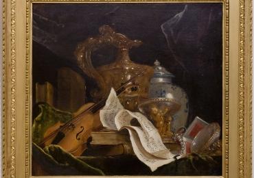 Natura morta sau alegoria muzicii, Jean-Marie de Silguy 1864,Tablou natura moarta, tablou natura statica