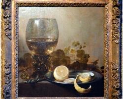Nature morte avec verre et citron, Pieter Claesz, Tablouri cu pahar de vin lamaie si flori Realizat