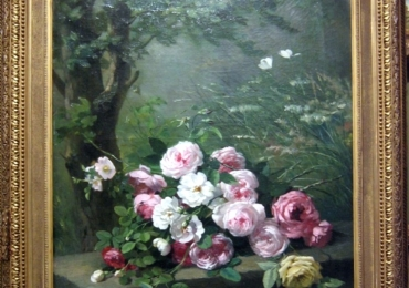Nature morte di fiori, Buchet de flori, Tablou cu flori de trandafiri intr-un peisaj de vara tablou cu flori de trandafiri, tablou floral