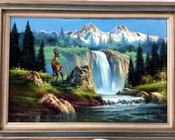 Nature scene mountain and  waterfall landscape. Tablou pictat manual in ulei