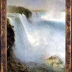 Niagara Falls From The American Side, waterfall. Tablou pictat manual in ule