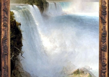 Niagara Falls From The American Side, waterfall. Tablou pictat manual in ule