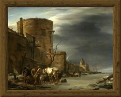 Nicolaes Berchem Stadswal van Haarlem in de winter 1647, tablou peisaj de iarna, Tablouri Pictori Celebri, Reproduceri Picturi Celebre