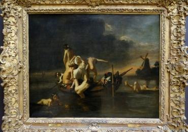 Nicolaes maes Children bathing, Tablou cu peisaj marin, tablou cu copii la scaldat, tablou cu moara de vant