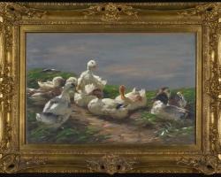 Nine Ducks on a Pond, tablou peisaj de vara, tablou peisaj cu lac, tablou peisaj cu rate, Tablouri Pictori Celebri, Reproduceri Celebre