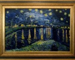 Noaptea pe Rhône, Vincent Van Gogh tablou peisaj nocturn cu stele, Reproduceri pictori celebri