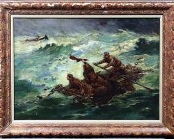 Oil Painting After Winslow Homer, Men Stranded at Sea, Tablou cu peisaj marin, tablouoameni naufragiati in largul mariii, tablou cu valurile marii